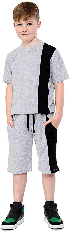 Kids Boys T Shirt Shorts 100% Cotton Contrast Panelled Grey Top Summer Short Set