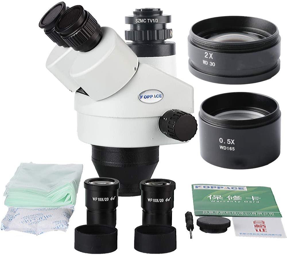 KOPPACE 1/3 Trinocular Microscope Camera Interface,3.5X-90X Trinocular Stereo Microscope Lens,WF10x Eyepieces,Includes 0.5X and 2.0X Barlow Lens