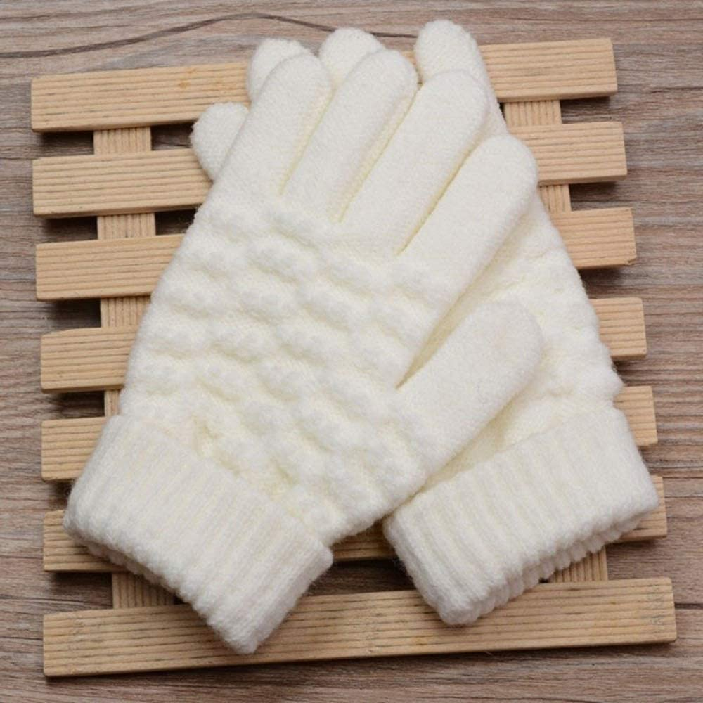 Slowoi Kids Fatheaded Knitted Gloves Warm Winter Gloves Children Unfold Mittens Boy Girl Infant Solid Gloves (Color : Kids White, Size : 1)