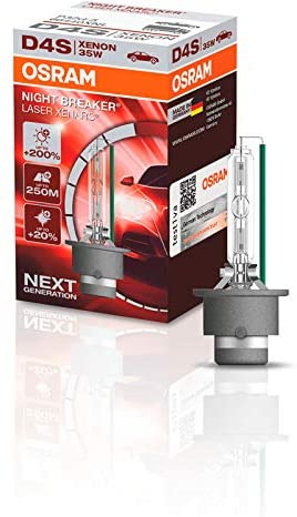 OSRAM XENARC NIGHT BREAKER LASER D4S, 200% more brightness, HID xenon bulb, discharge lamp, 66440XNL, folding box (1 lamp)