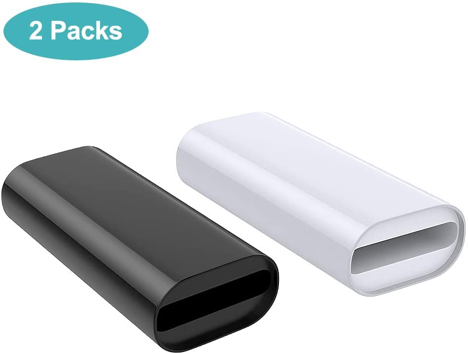 MoKo Charging Adapter Compatible with Apple Pencil 1st, Connector Charger Cable Compatible with iPad Air 3 / iPad Mini 5 2019 / iPad Pro 12.9 10.5 9.7 Pen Accessories, (2 Pack, Black & White)