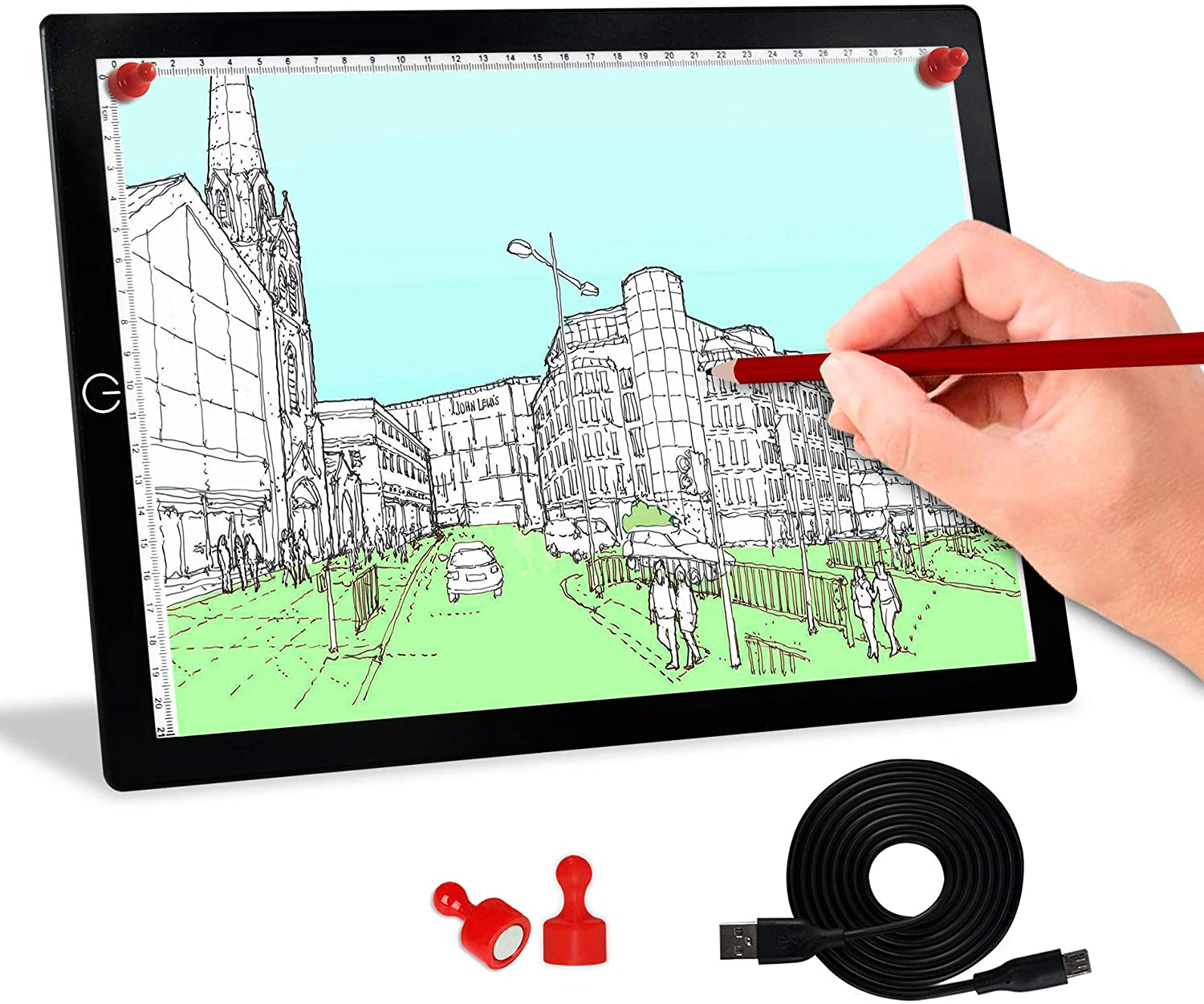 Tracing Light Box, A4 Light Board Portable LED Light Pad Tracer Dimmable Winshine Copy Board Artcraft Tracing Light with USB Power Cable for Artists Drawing, Sketching, Animation