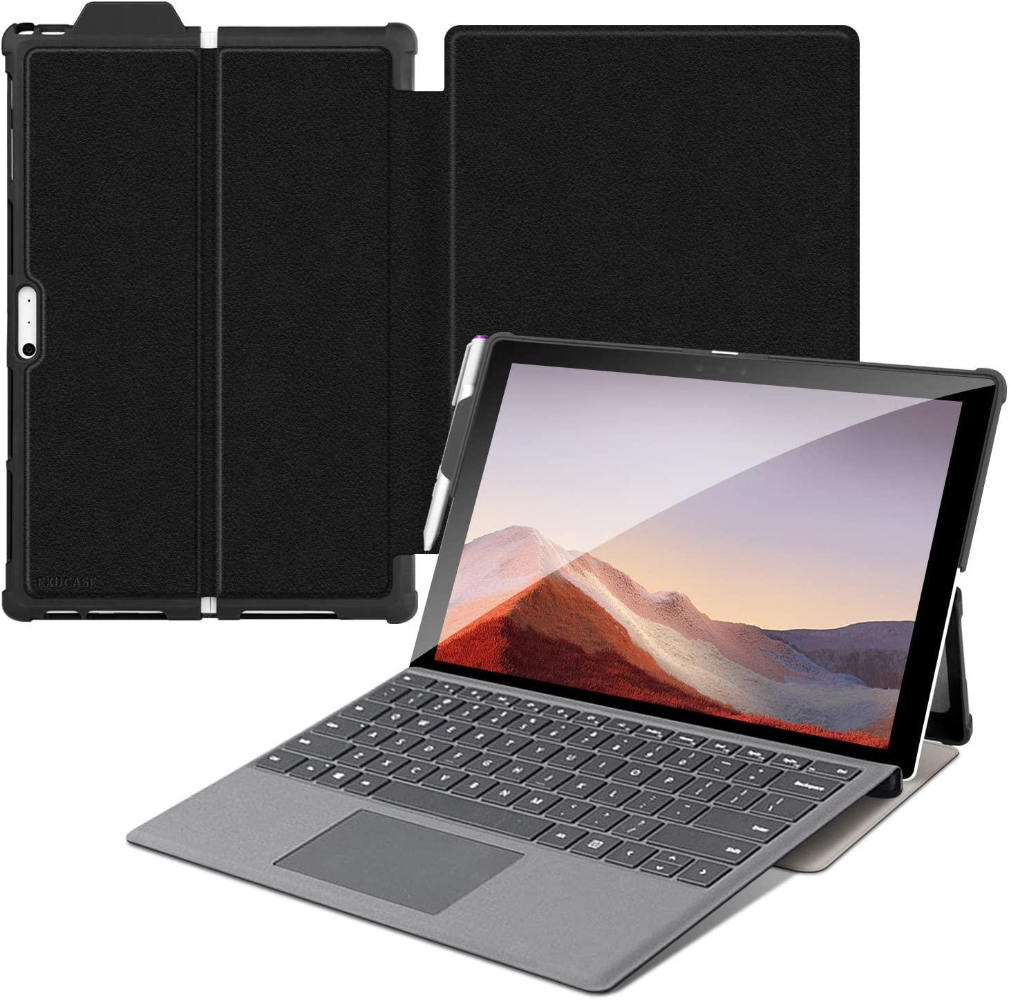 Exucase Case Fit Microsoft Surface Pro 7/ Pro 6/ Pro 5/ Pro 4 with Kickstand+Pen Holder, Soft Shockproof Stand Cover Protective Cases for Laptop Computers Compatible with Type Cover Keyboard, Black
