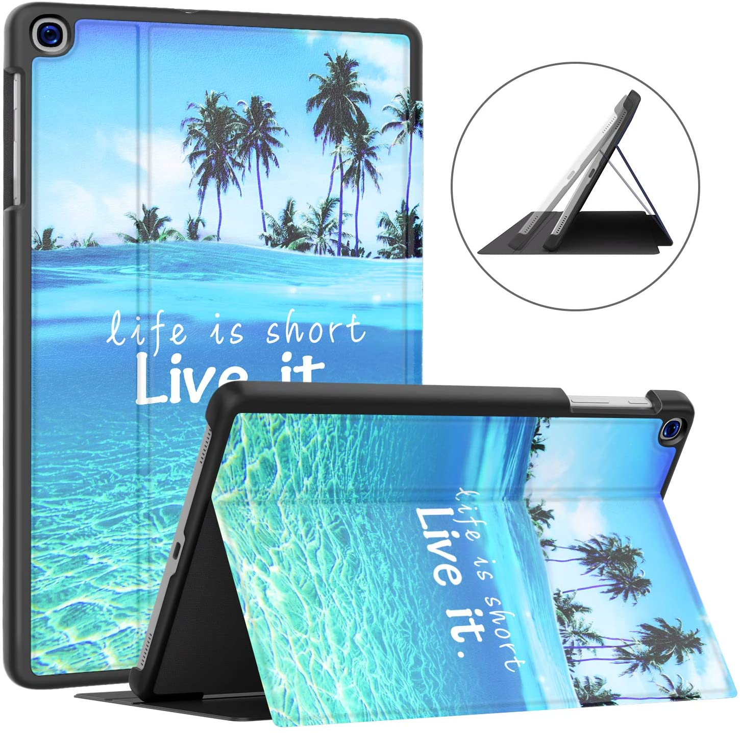 Soke Galaxy Tab A 10.1 Case 2019, Premium Shock Proof Stand Folio Case,Multi- Viewing Angles, Soft TPU Back Cover for Samsung Galaxy Tab A 10.1 inch Tablet [SM-T510/T515/T517],Summer Beach