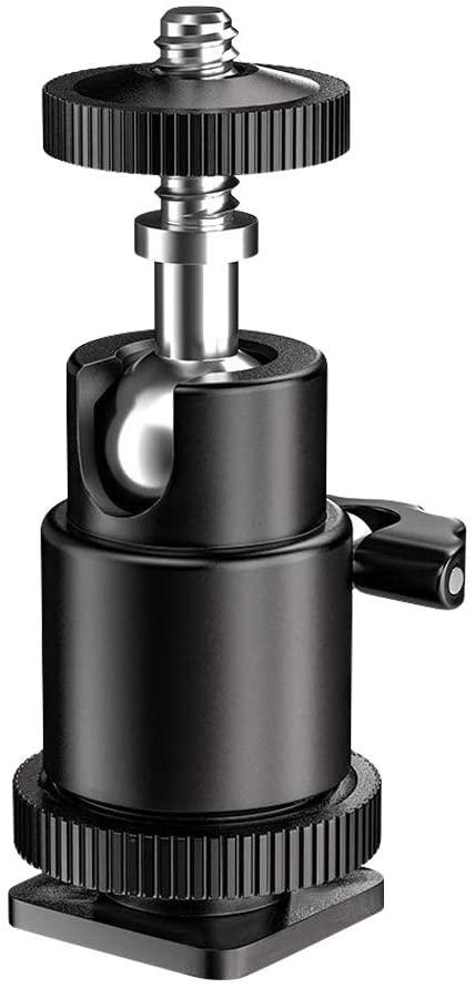 Pixel1/4 Mini Ball Head Hot Shoe Mount Adapter for Ring Light, RGB Video Light
