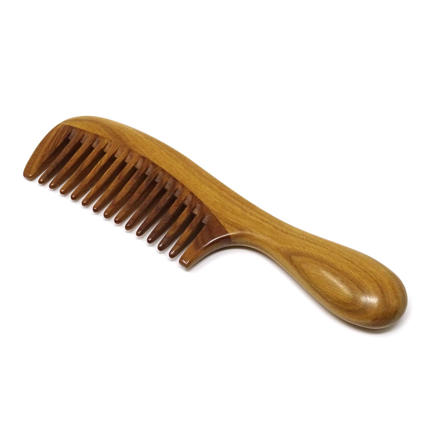 Honbay Handmade Wide Tooth Green Sandalwood Hair Comb Anti-static Wooden Comb