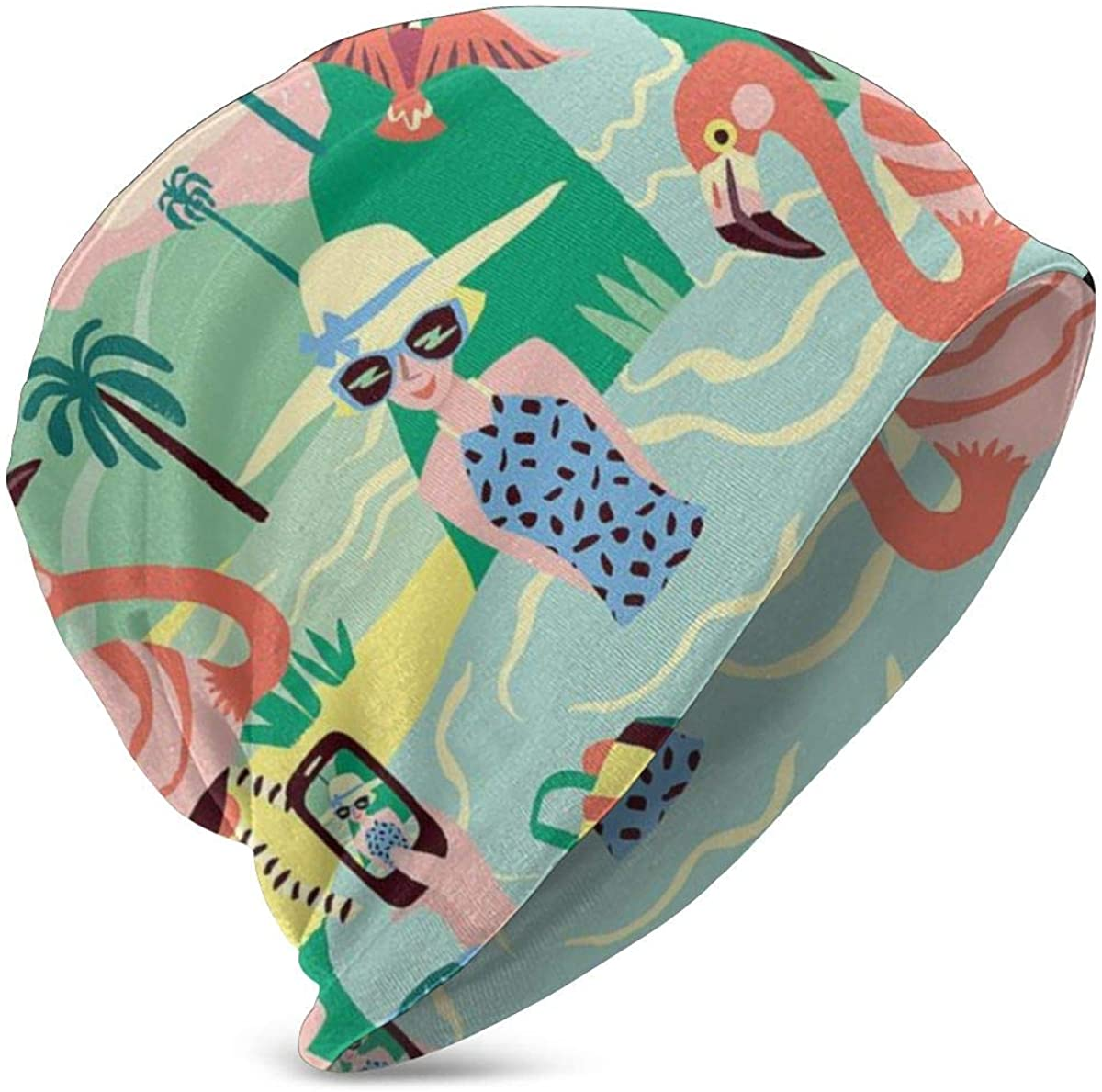 PETER HONG Teen Girls Boys Beanie Hat, Cuff Cap, Skull Hat, Dome Cap Daily Hat(Tropical Taking Pictures Birds Flamingo )
