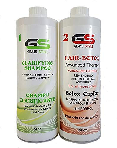 GS Gems Style Hair Botox Smoothing Treatment For Blonde Hair - Organic/Formaldehyde Free - 1000ml / 34oz Professional Brazilian Blowout Hair Straightening Long Lasting - Plus FREE Clarifying Shampoo.