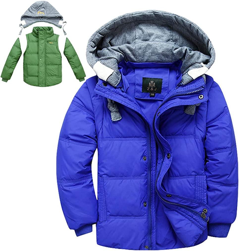 LKMY Boys' Hooded Puffer Down Jacket Coat,Puffer Vest Jacket Waistcoat Winter Warm Gilet
