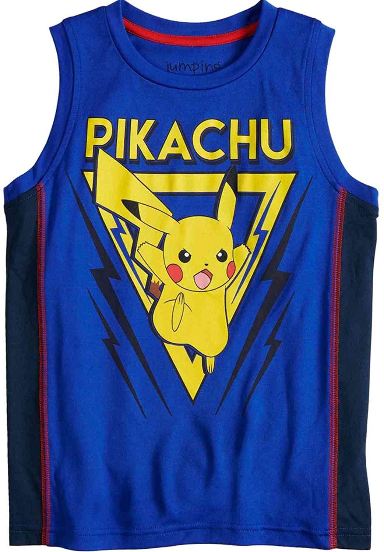 Pokemon Boys Blue Pikachu Muscle Tank Top Shirt T-Shirt Tee
