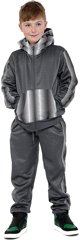 Kids Girls Boys Zebra Panelled Tracksuit Fleece Hooded Top & Bottom Sportswears
