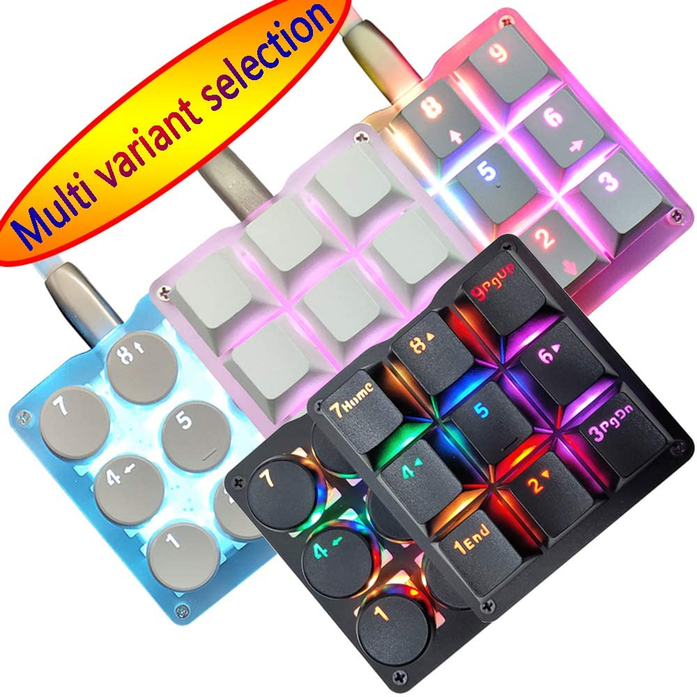 9 Keys 24 Macro Programmable Setting Keypad RGB Backlight Mechanical Keyboard for OSU Single-Handed Keyboard Electric Contest Game PC Laptop MAC Win Geeker Outemu Red Switch(Blank Keycap)