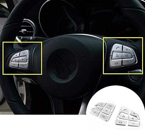 Interior Steering Wheel Button Trim Cover 12pcs for Mercedes-Benz A-Class W176 2016-2018