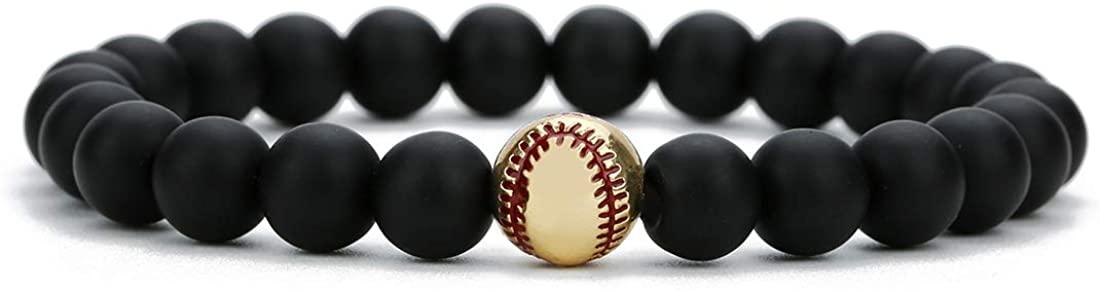 Linsoir Beads Trendy Baseball Bracelet Lava Stone/White Howlite/Matte Black Stone Beaded Bracelet Sports Jewelry for Boy Gift Jewelry 1 pc