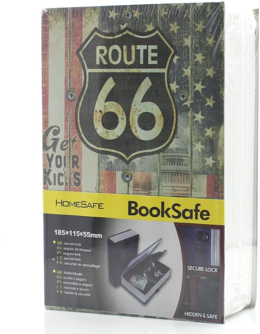 Riipoo Diversion Hidden Book Safes, M Size 66 Route Pattern Book Safe, Metal Case Inside & Key Lock, Complete Book Safe Measures 7.1 x 4.5 x 2.2 Inch