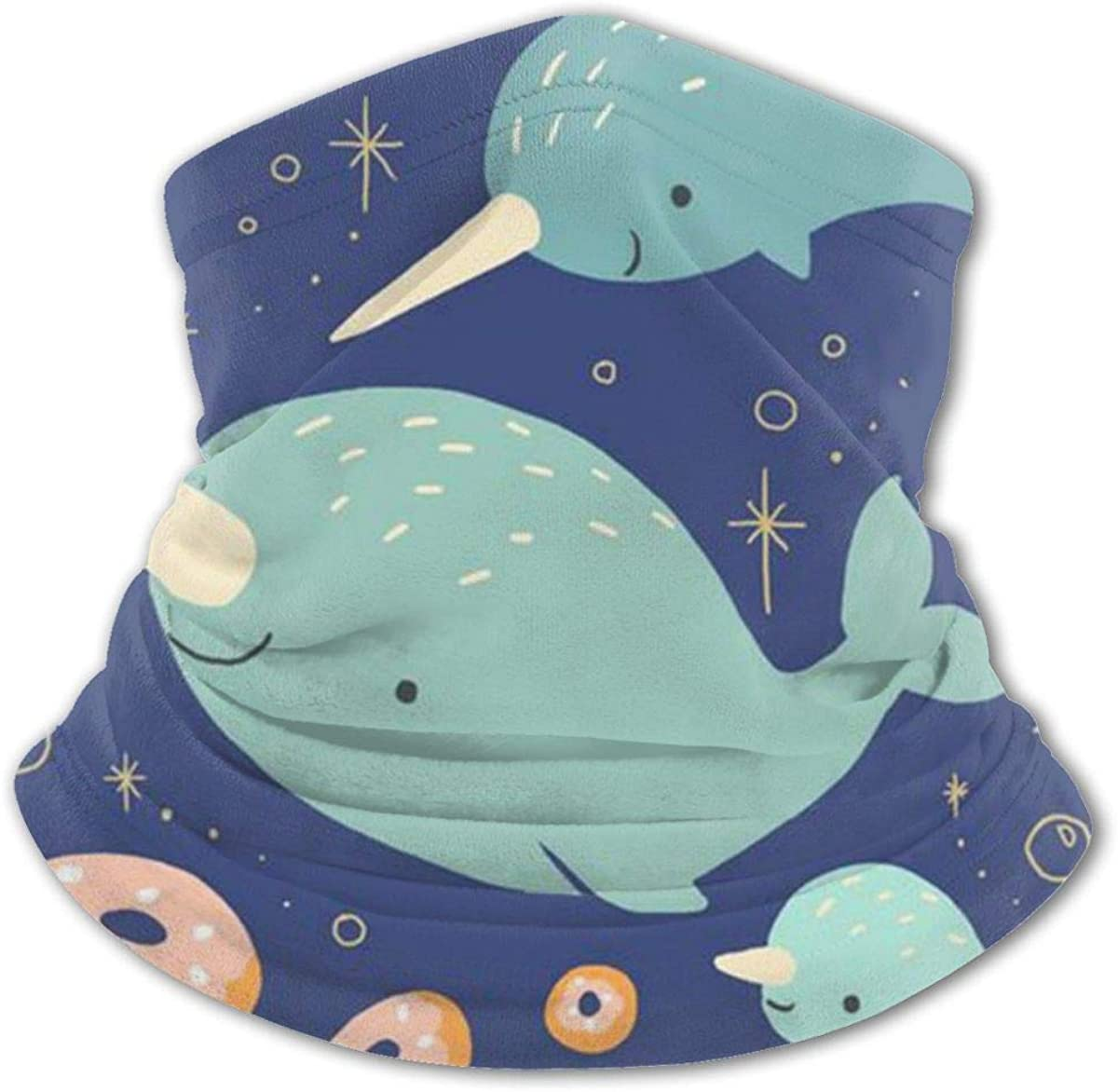 Cute Narwhal Headwear For Girls And Boys, Head Wrap, Neck Gaiter, Headband, Tenn Fishing Mask, Magic Scarf, Tube Mask, Face Bandana Mask For Camping Running Cycling
