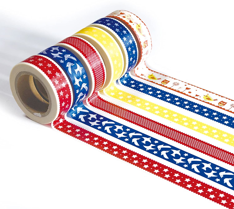 Ultra Premium Washi Tape - Perfect Multi Purpose Colored Masking Tape for Walls, Arts and Crafts, DIY, Scrapbook (Folk Implosion)