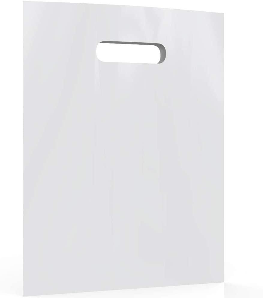 White Merchandise Plastic Shopping Bags - 100 Pack 12