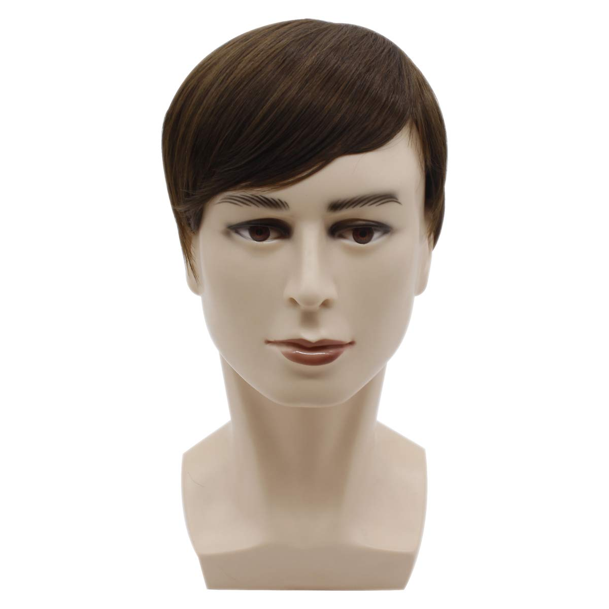 YYHR Short Brown Wigs for Men Short Straight Mens Wig Realistic Natural Male Side Part Wig
