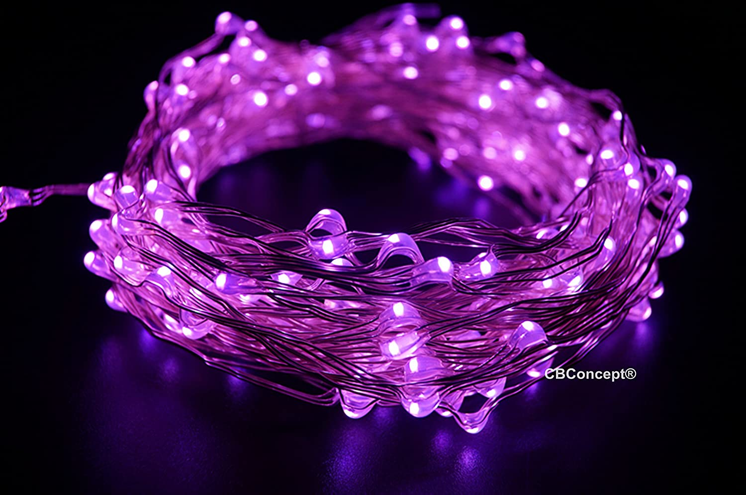 CBconcept LC100-10M-PU LED Starry String Lights on Copper Wire,Includes UL Listed Power Adapter,33-Feet, 100 LED's, Purple