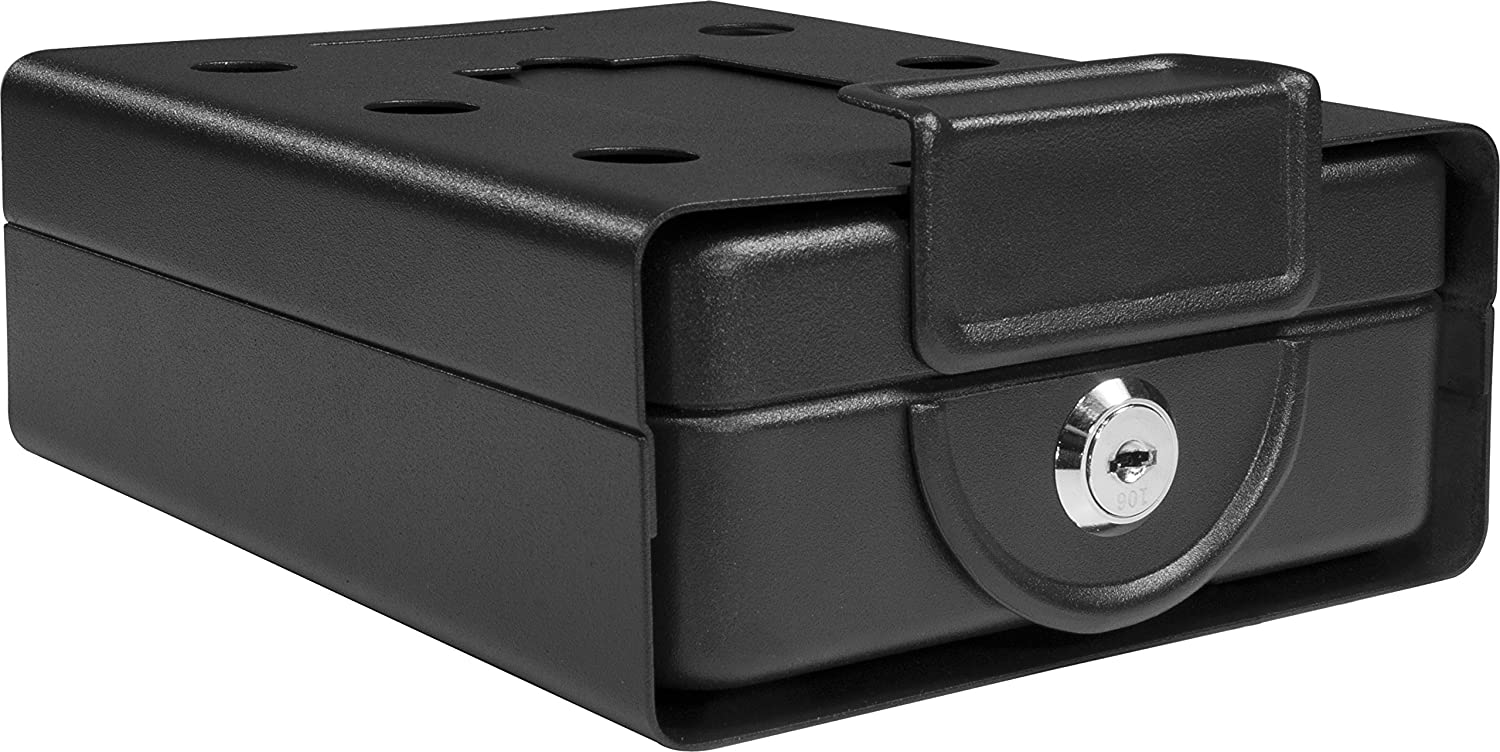 Barska Compact Safe Key Lock Safe w/ Mounting Sleeve AX11812,Black,Medium