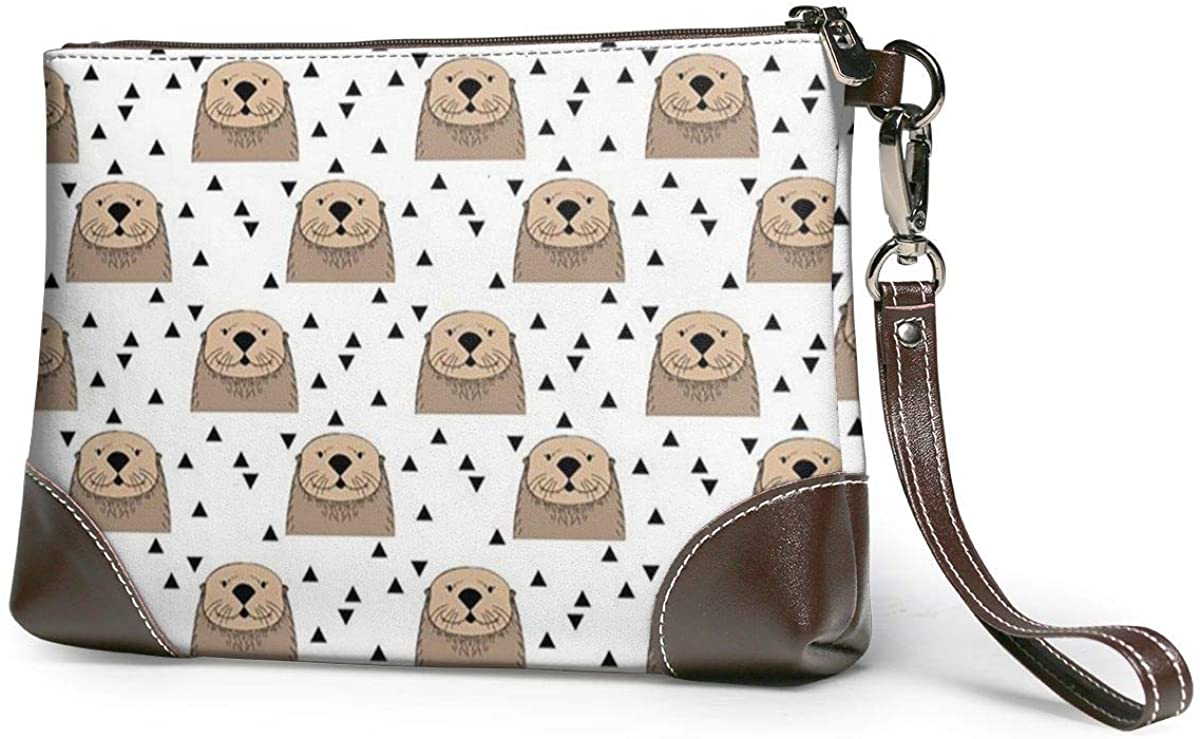 Brown Otters On White Leather Wristlet Clutch Bag Zipper Handbags Purses For Women Phone Wallets With Strap Card Slots