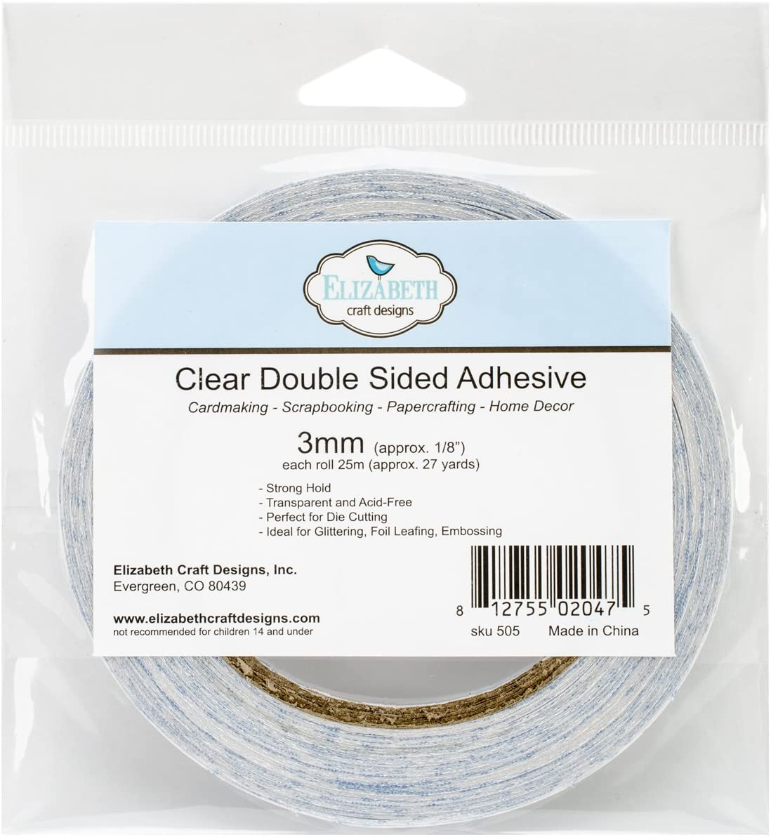 Elizabeth Craft Designs 2mm Double-Sided Adhesive Roll, 1/8