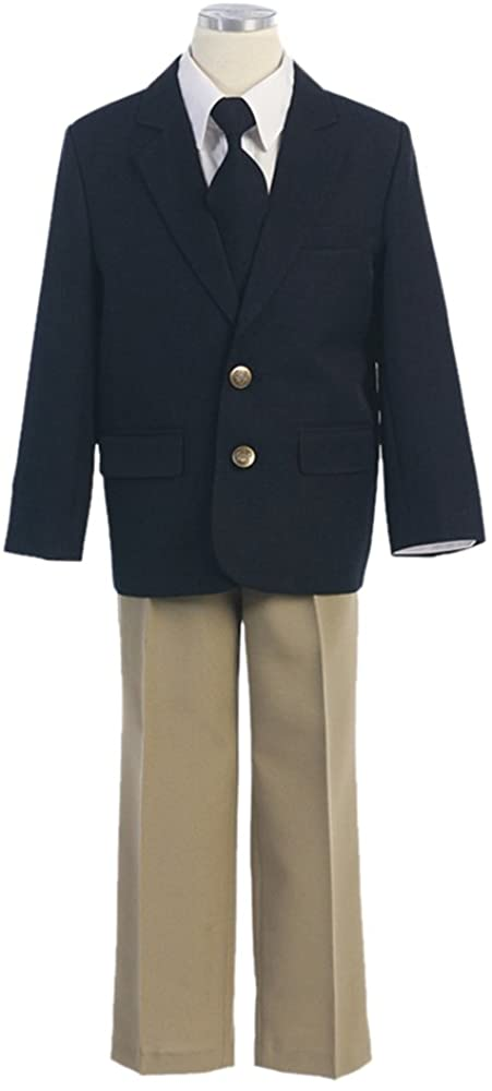 HBDesign Boys' 2 Piece 2 Button Balck Jacket and Champagne Pants
