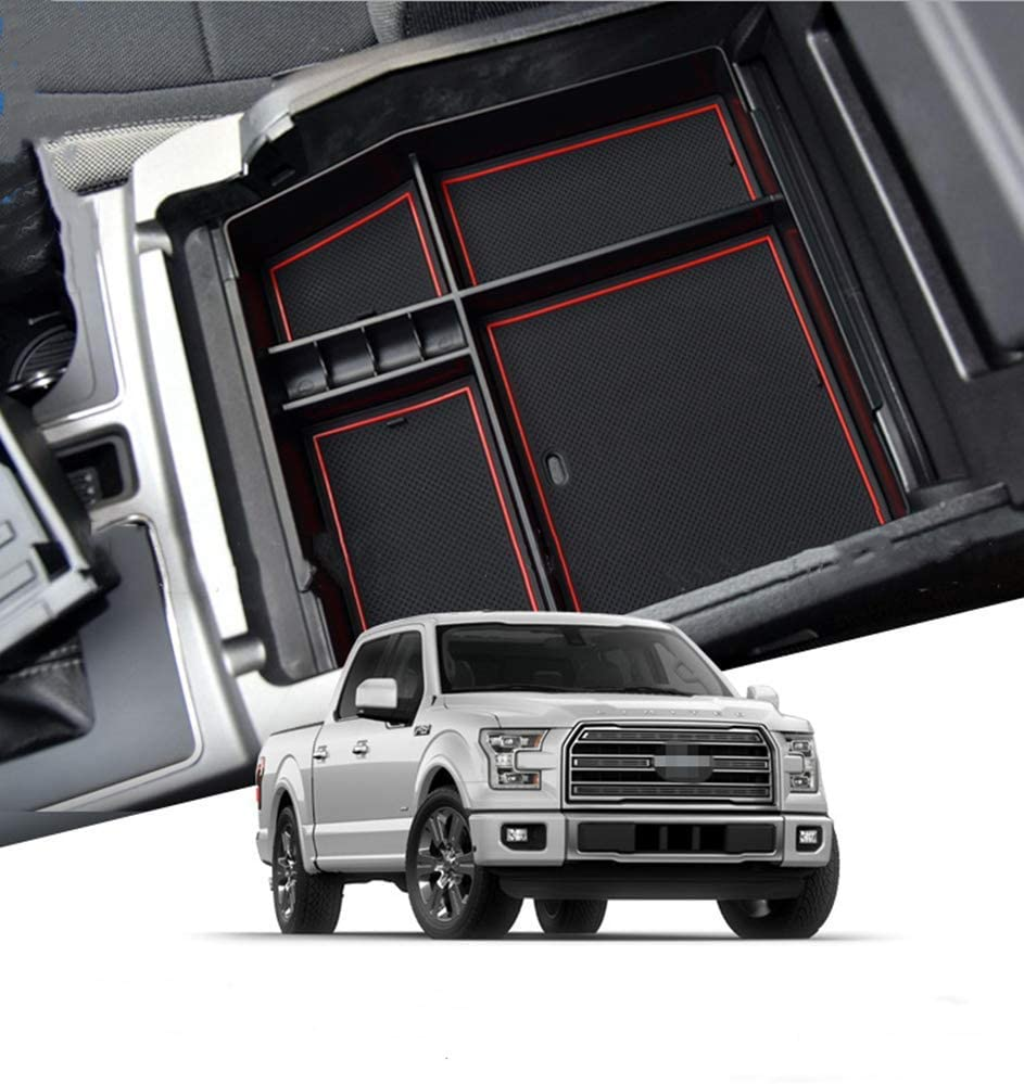 SLONG for Ford F150 2015-2018 Center Console Organizer Replaces Storage Box Container Armrest Box Secondary Tray Insert Pallet Black