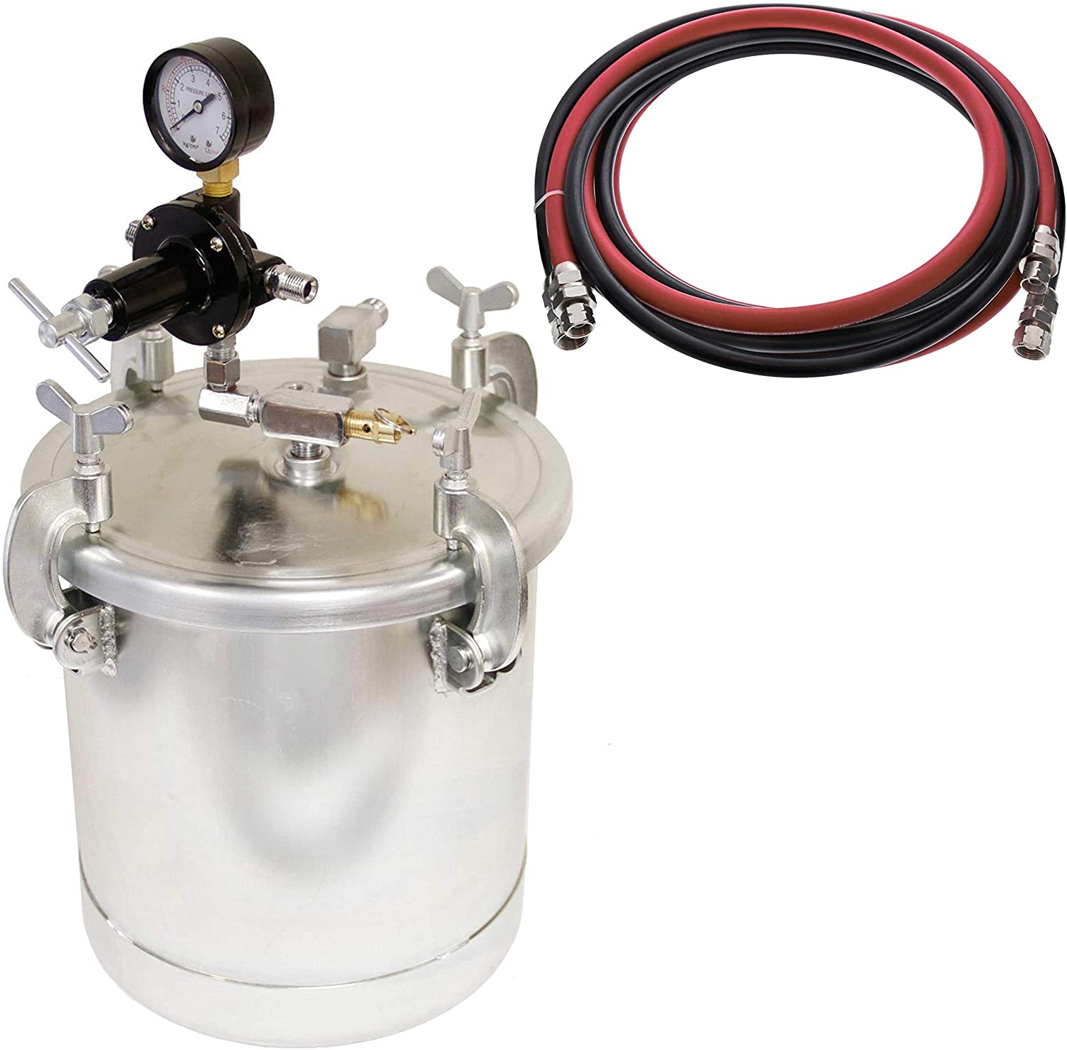 TCP Global Pressure Pot Bundle with 2-1/2 Gallon - (10 Liter) Pressure Pot Paint Tank with Regulator & Master Pro Series 12 Foot Air & Fluid Hose Assembly Set with Fittings