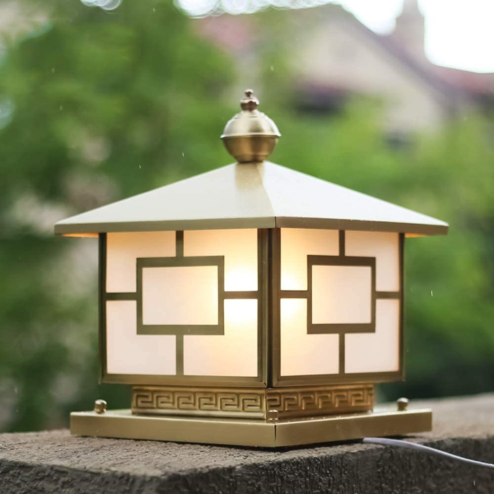 Hines Chinese Creative Blessing Peace Frosted Glass Copper Outdoor Pillar Lamp Waterproof Column Light E27 Gate Villa Garden Europe Balcony Outside Rainproof Born Rich Post Table Light