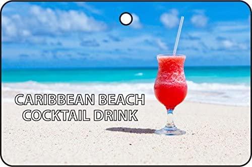 Caribbean Beach Cocktail Drink Car Air Freshener