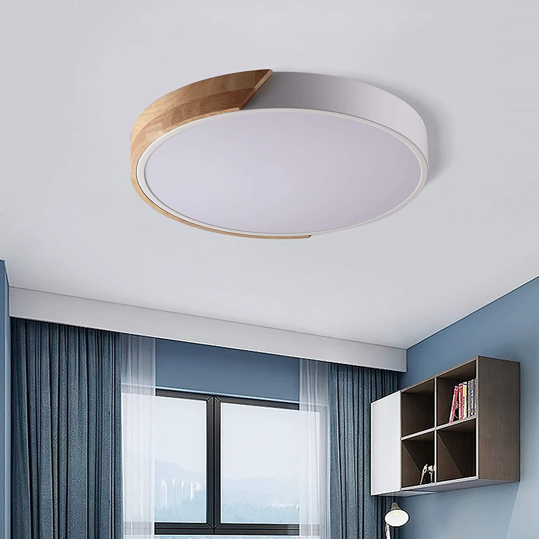 Jiuzhuo Modern Minimalist LED Drum Shaped Wood & Metal & Acrylic 1-Light Flush Mount Ceiling Light Fixture (Large, White)
