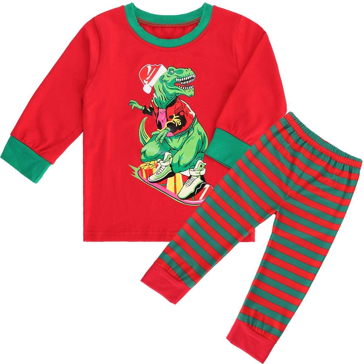 puseky 2pcs Kids Toddler Boys Girls Christmas Dinosaur Pajamas Outfits Set Long Sleeve Shirt and Pants
