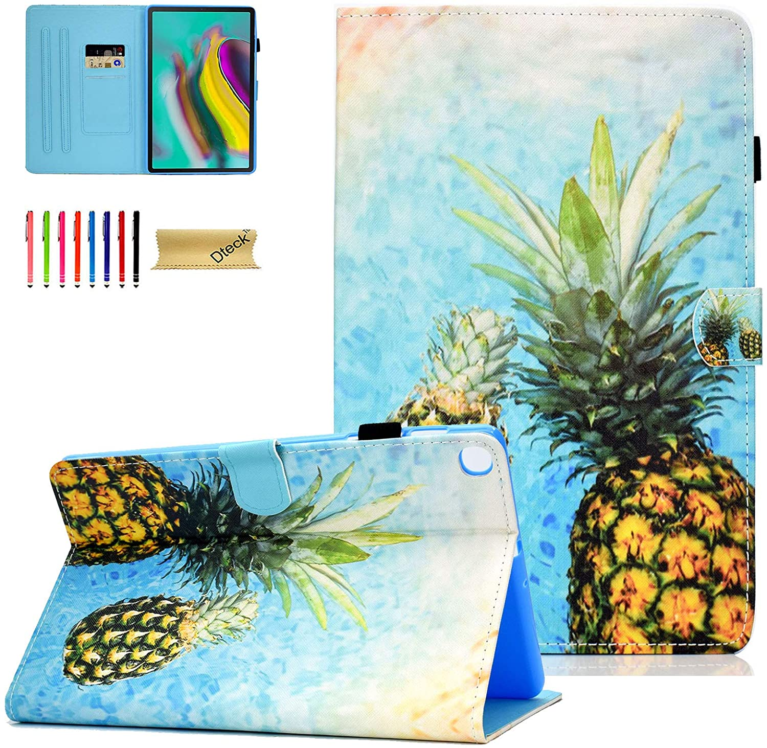 Galaxy Tab S5e 10.5 Case, SM-T720 Case, Dteck Slim PU Leather Folio Stand Protective Case with Auto Wake/Sleep Smart Cover for Samsung Galaxy Tab S5e 10.5 inch Tablet 2019 T720/T725, Pineapple