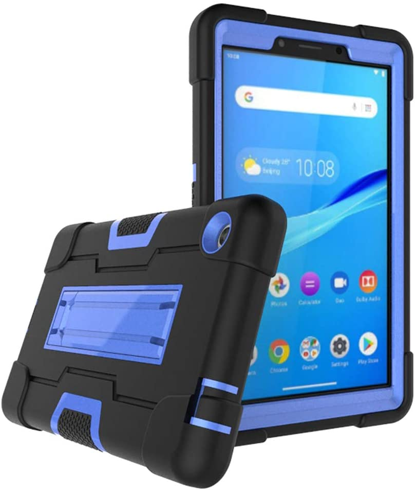 Cherrry Case for Lenovo Tab M7 Tablet Case, Heavy-Duty Drop-Proof and Shock-Resistant Rugged Hybrid case(with Built-in Stand) for Lenovo Tab M7/TB-7305F/TB-7305I/TB-7305X 7.0 Inch(Black/Blue)
