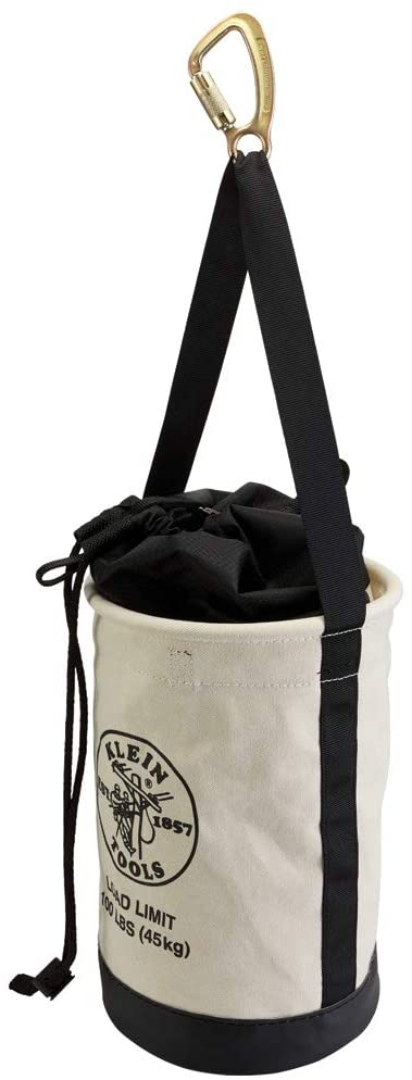 Klein Tools 5114DSC Heavy Duty Canvas Drawstring Close Bucket, 17-Inch with Leather Reinforced Bottoms, Load Rated up to 100-Pound