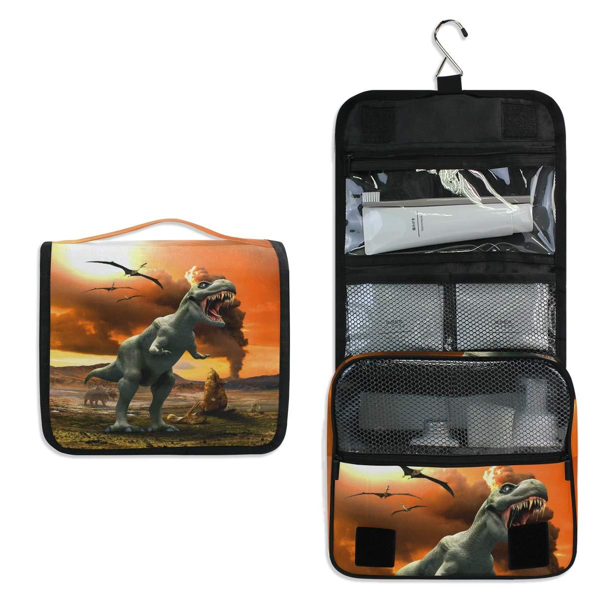 Hanging Travel Toiletry Bag - Tyrannosaurus Fierce Dinosaur Waterproof Cosmetic Bag Portable Makeup Pouch for Toiletries Bathroom