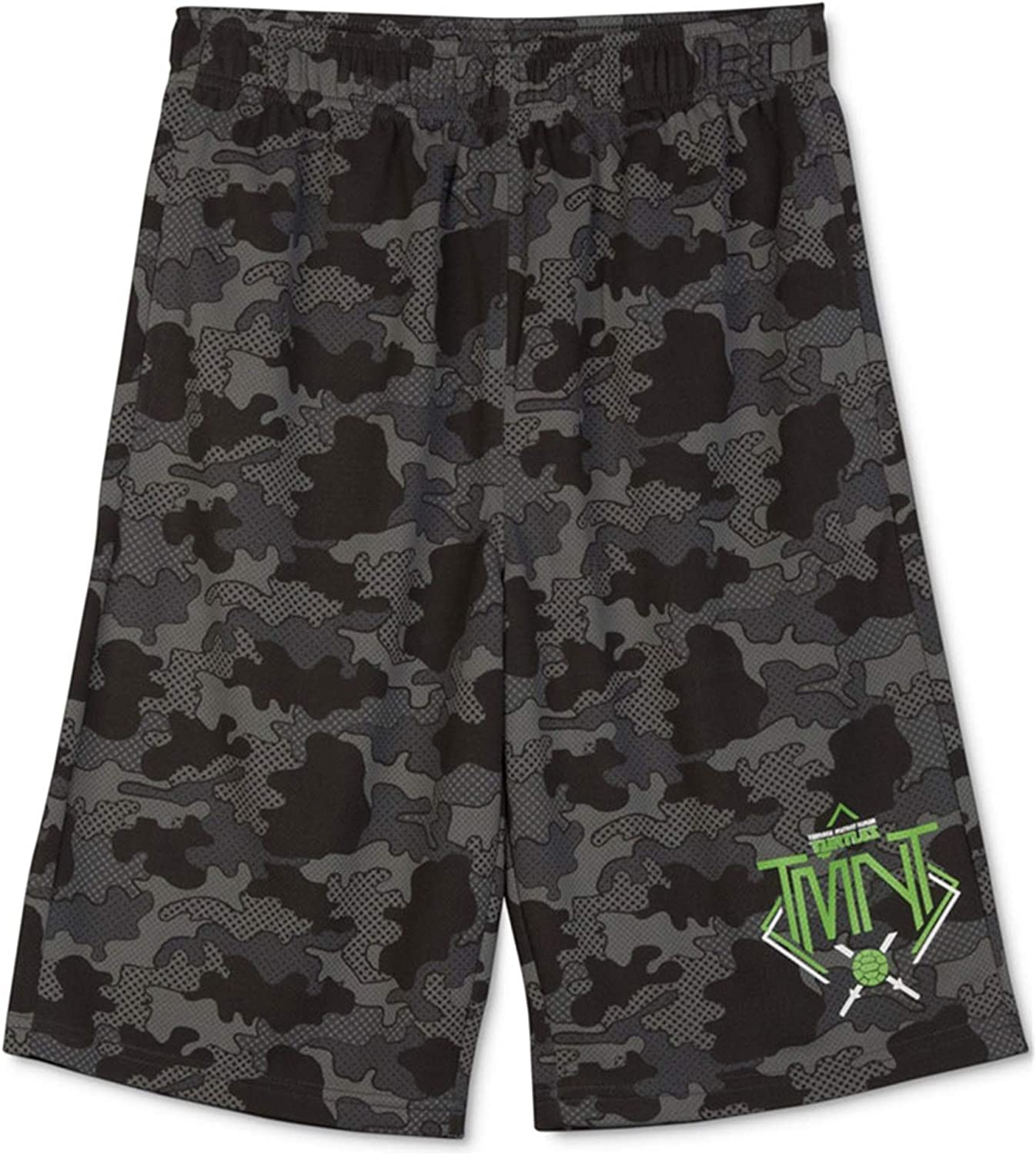 Nickelodeon Boys TMNT Camo Athletic Workout Shorts, Grey, M (12)