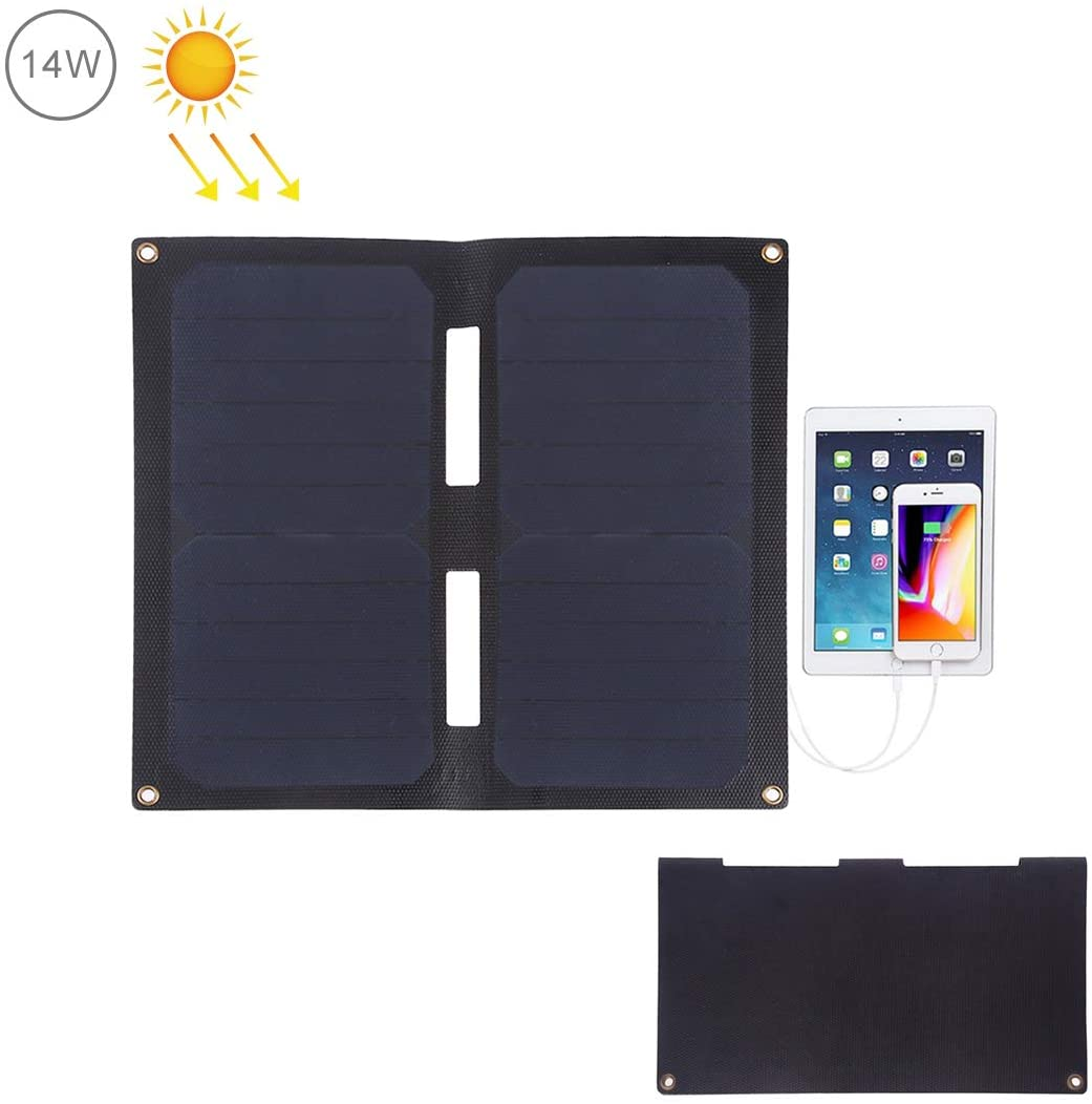 HAWEEL Foldable Solar Charger 14W ETFE Technology Water Resistant with 5V /2A Max Dual USB Solar Panel for iPhone iPad Galax, Note, LG, Nexus, HTC (14W 2-Fold ETFE Solar Panel)
