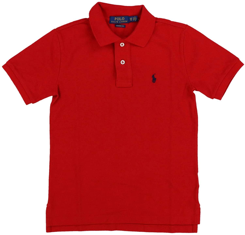 Polo Ralph Lauren Boys Mesh Polo Shirt (Large (14-16), Classic Red)