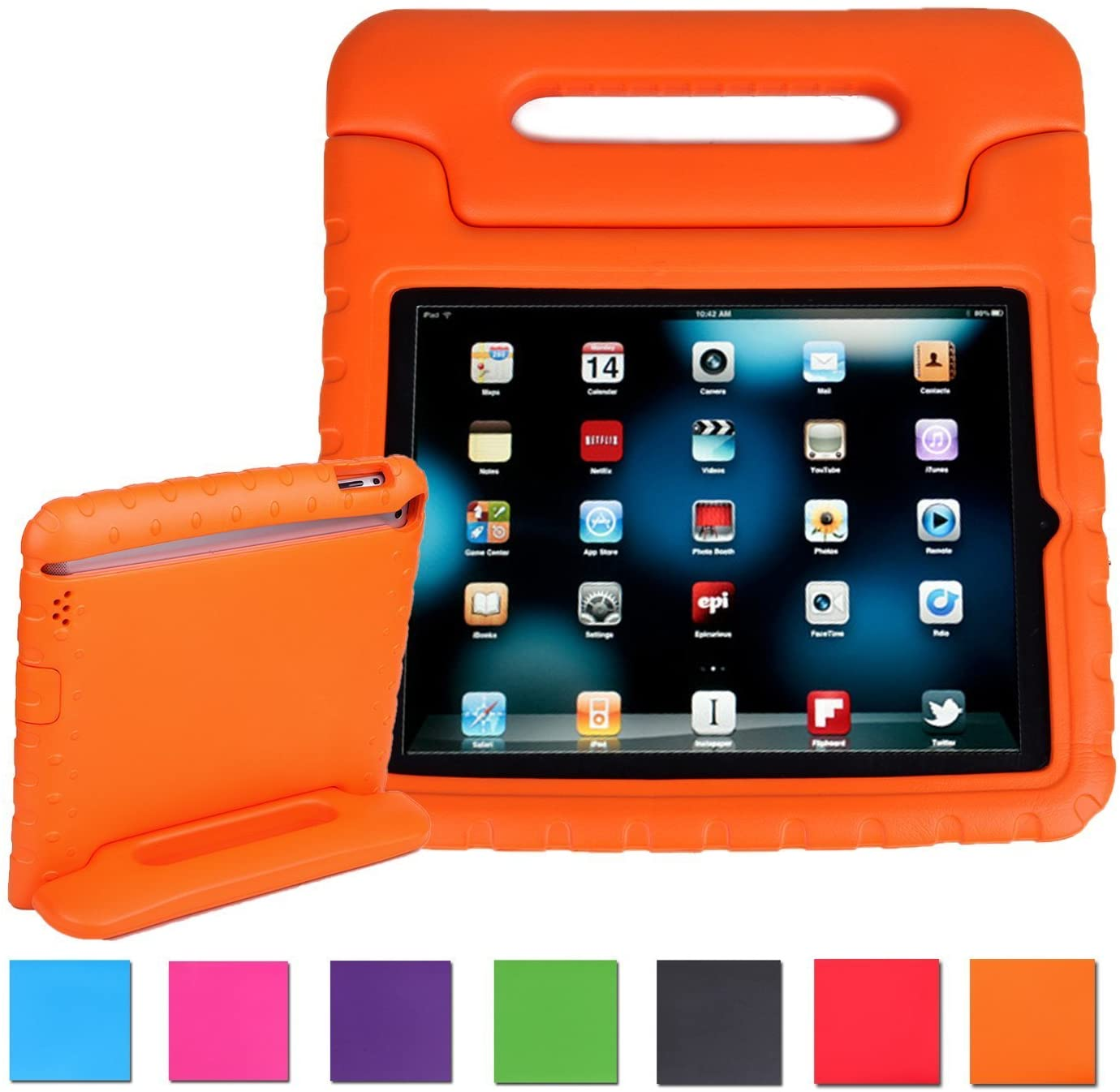 AGRIGLE iPad Mini Case,[Kids Series] Shock Proof Convertible Handle Light Weight Super Protective Stand Cover Case for Apple iPad Mini/Mini 2/Mini 3 (Orange)