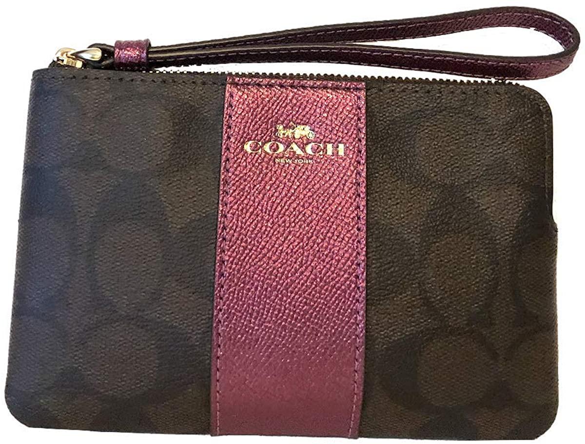 Coach Crossgrain Leather Corner Zip Wristlet Logo