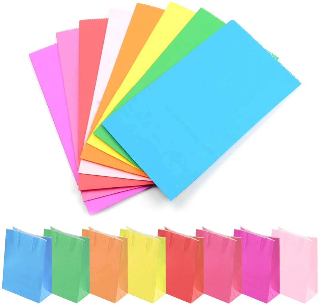 Superise Small Paper Bags, Assorted Color Party Treat Bags, Party Favor and Wrapped Gift Bags for Birthday, Baby Showers, Wedding, and Party Decoration, Solid Color, 9.4 x 5.1x 3.1inch, 32 Pack