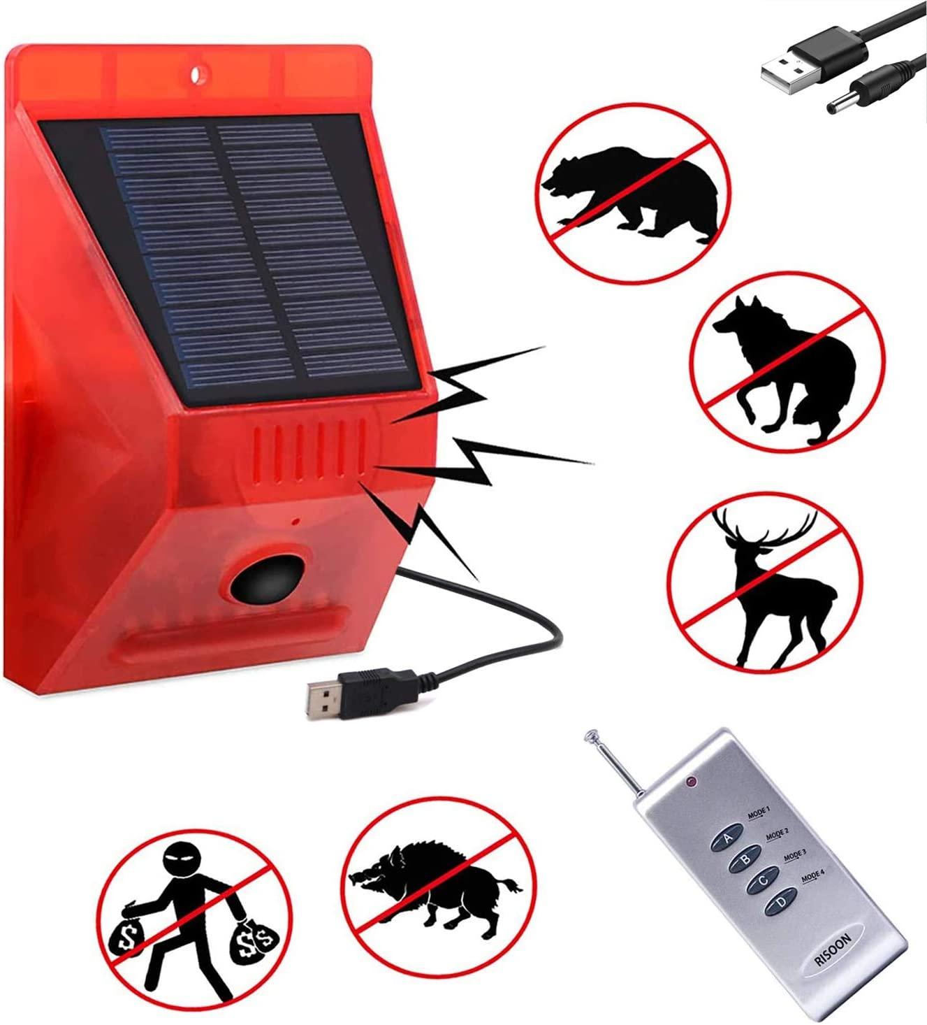 RISOON Solar Strobe Light with Remote Controller, Solar Alarm Light with Motion Detector Solar Alarm Light 129db Sound Security Siren IP65 Waterproof, Protected Your Home, Farm, Barn, Barn,Villa,Yard