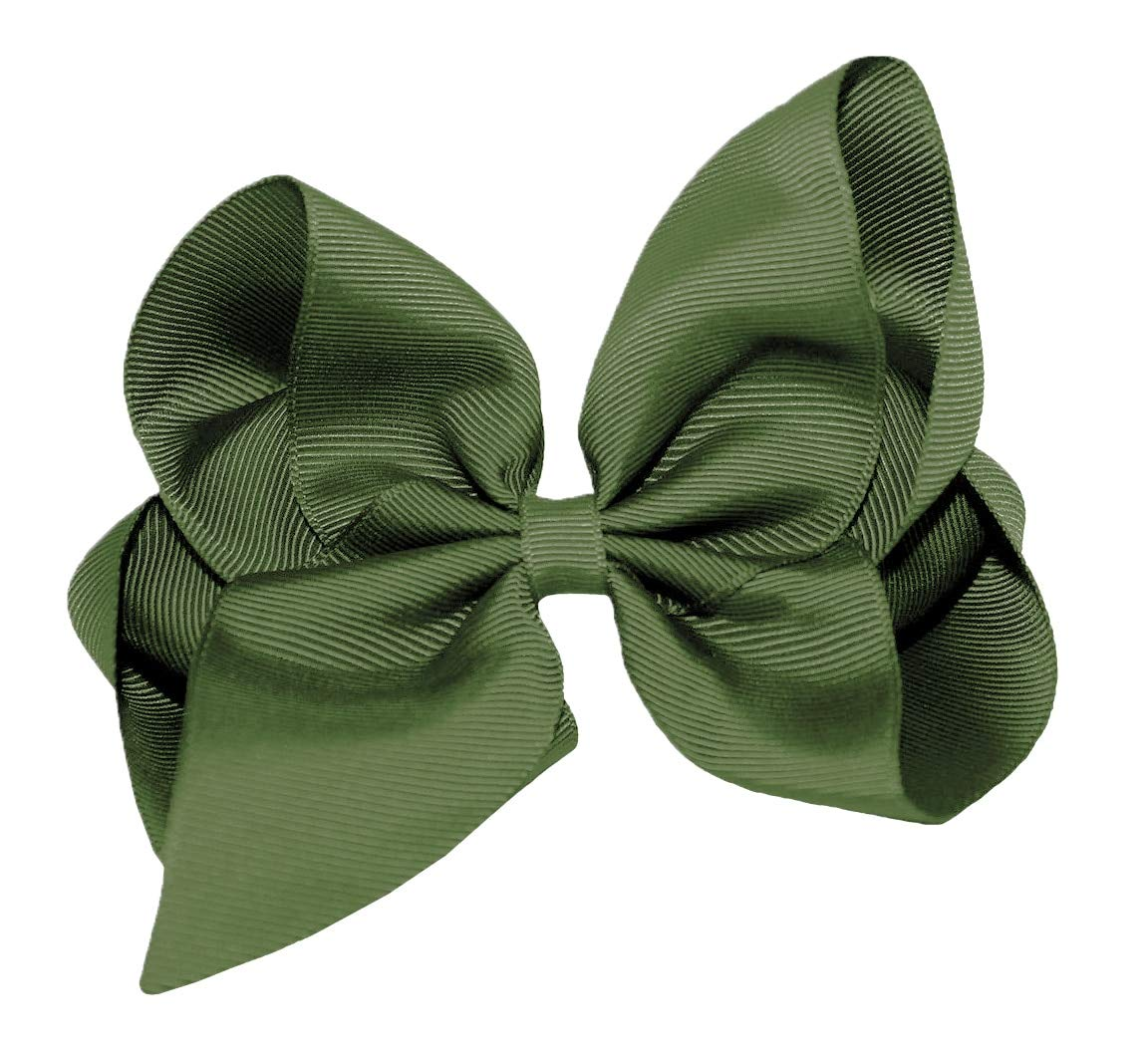 WD2U Girls 6 Classic Style Boutique GrosGrain Hair Bow on Alligator Clip USA Olive Green