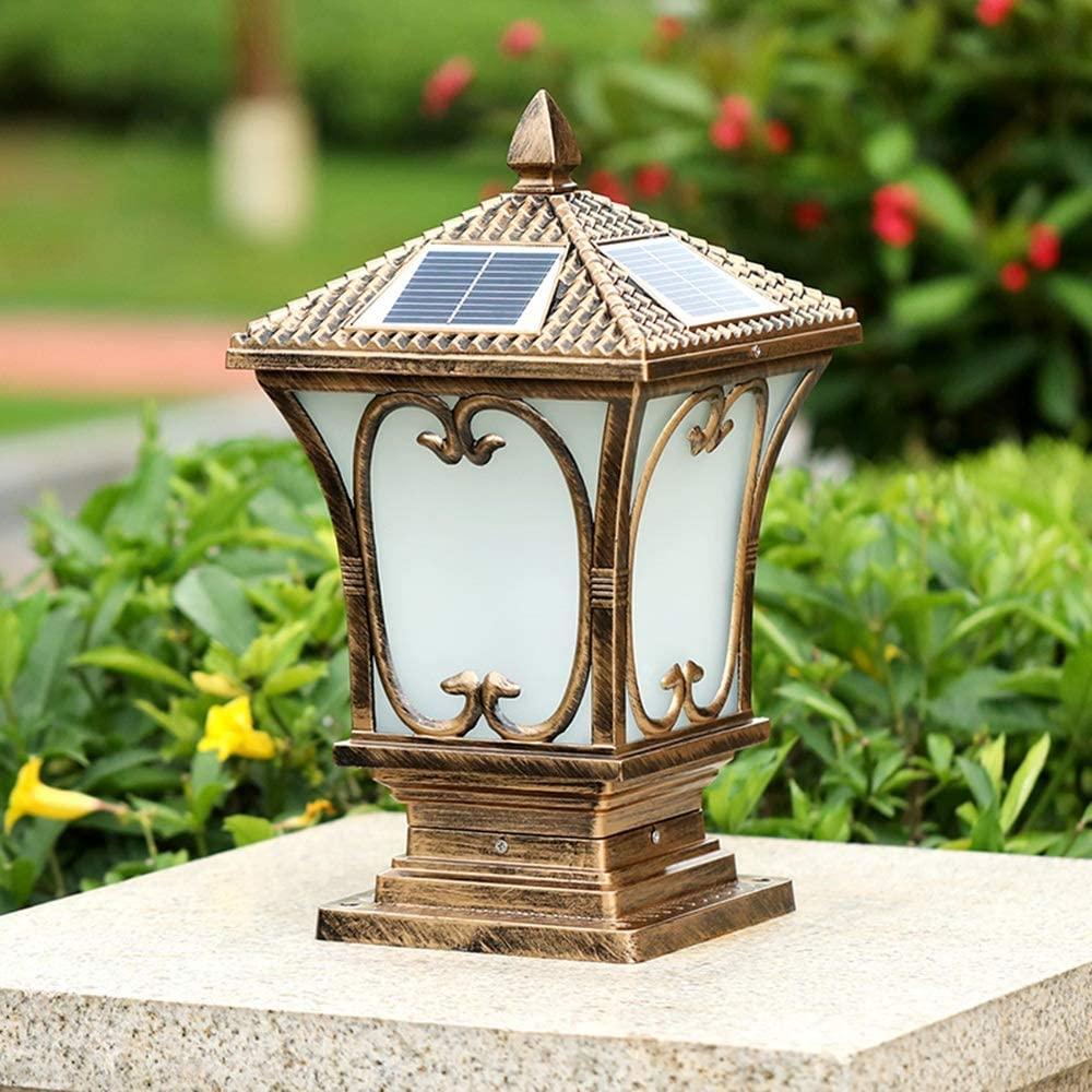 IGLZ Outdoor Waterproof E27 Post Lamp European Traditional Retro Pillar Light Aluminum Alloy Glass Column Lantern Garden Park Decorative Landscape Lamp (Size : S)