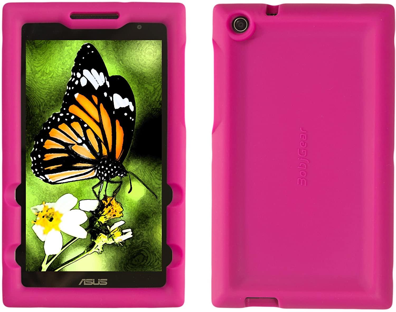Bobj Rugged Case for ASUS ZenPad Z170C, Z170CG, Z170MG, P01Z – BobjGear Custom Fit - Patented Venting - Sound Amplification - BobjBounces Kid Friendly (Rockin' Raspberry)