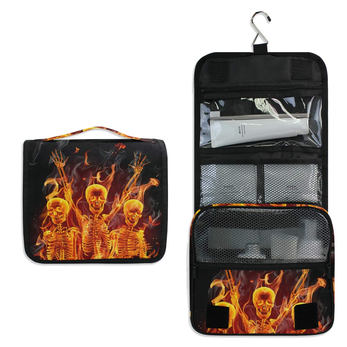 Hanging Travel Toiletry Bag - Fire Skeletons Skull Waterproof Cosmetic Bag Portable Makeup Pouch for Toiletries Bathroom