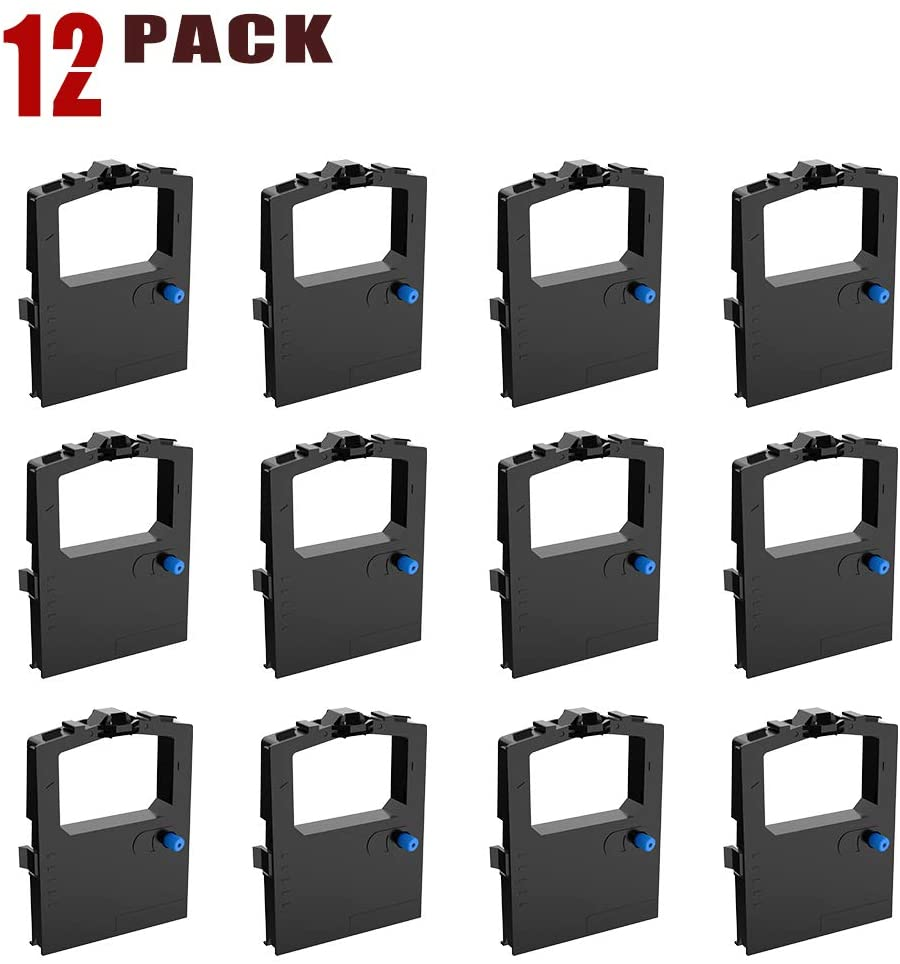 BIGGER 12-Pack Replacement for Okidata 52102001 Black Ribbon Used with Microline 320/321 Turbo Printers, Microline 100 Series
